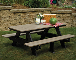 Bon Polywood Patio / Picnic Tables With Attached Benches