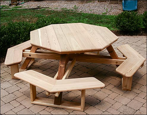 Red Cedar Octagon Walk In Picnic Table