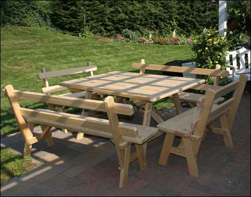 Outdoor Picnic Table Sets Benches With Backs - Picnic table with backrest