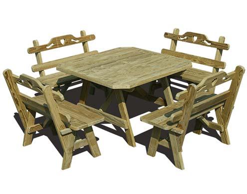 Treated Pine Wide Picnic Table W Hearts Backs