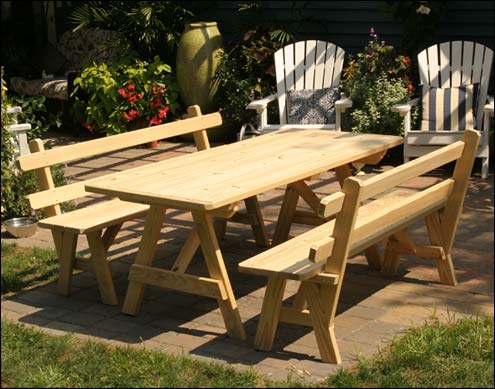 Treated Pine Picnic Tables - Teak picnic table with detached benches