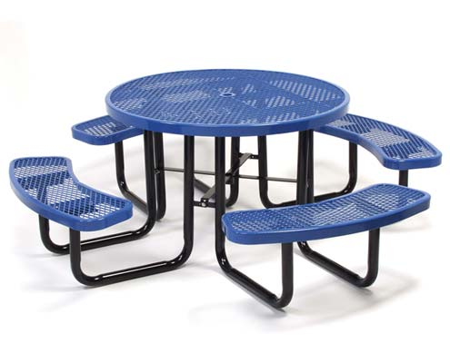 Coated metal tables 46 round expanded metal picnic table watchthetrailerfo
